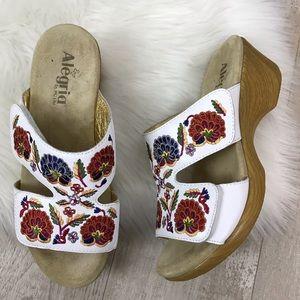 ALEGRIA Lunn Embroidered Leather Slip On Sandal 40